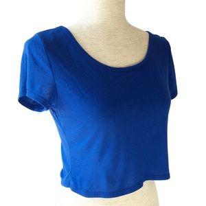 American Eagle Royal Blue Short Sleeve Crop Top